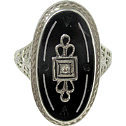 Very Nice 14K White Gold Filigree Black Onyx & Diamond Ring