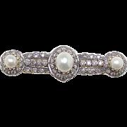 Elegant & Beautiful 18K Yellow & White Gold Cognac Diamond & Cultured Pearl Brooch