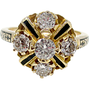 Wonderful 14K Yellow Gold Diamond & Black Enamel Ring