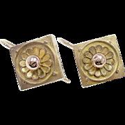 Very Pretty 14K Yellow & Rose Gold Dangle Flower Earrings