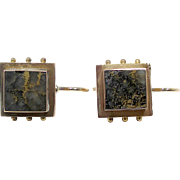 Very Nice 14K Yellow Gold Gold Quartz Earrings