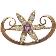Very Pretty 10K Yellow Gold Seed Pearl & Purple Glass Flower Brooch