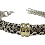 Sterling Silver & 10K Gold Tubular Bracelet
