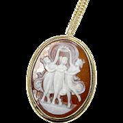 Very Nice .835 Silver Three Graces 1940's Cameo Pendant & Chain