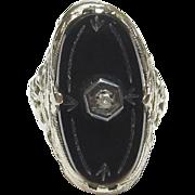 Very Nice 14K White Gold Black Onyx & Diamond Filigree Ring