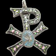 Very Nice Sterling Silver Micro Mosaic Bird & Rose Pendant