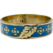 Very Neat 16K Yellow Gold Blue Enameled Ring