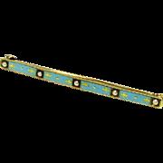 Wonderful 10K Yellow Gold Turquoise Enamel & Seed Pearl Sweetheart Pin