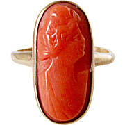 Wonderful 14K Yellow Gold Coral Cameo Ring