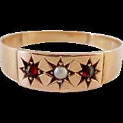 Very Nice 10K Rose Gold Garnet & Seed Pearl Ring