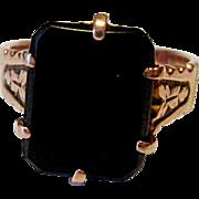 Very Nice 10K Rose Gold Black Onyx 1880's Ring