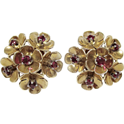SOLD Simply Beautiful 14K Rose Gold Ruby Flower Earrings