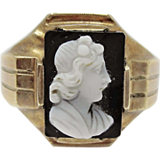 Interesting 10K Victorian Stone Cameo Ring