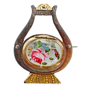 Antique Victorian 18ct Gold & Mother of Pearl Mourning Locket Lyre Brooch