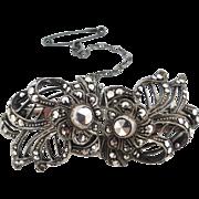 Vintage c 1930 Germany 3 piece Duet Sterling Silver Marcasite Dress/Fur Clips- Brooch