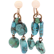 SALE Turquoise Dangle Earrings, 9ct Rose Gold Screw-back