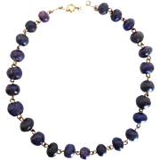 Antique Edwardian c1910's Natural Lapis Lazuli and Gold Wire Choker Necklace