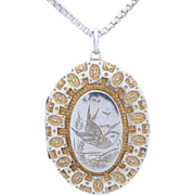 Antique Victorian c1884 Gilded Sterling Silver Bird Engraved Locket Pendant with Necklace