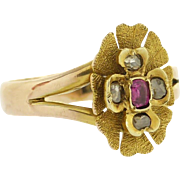 Sweetest Antique Ruby and Rose Cut Diamond Flower Petal Ring in 9ct Gold