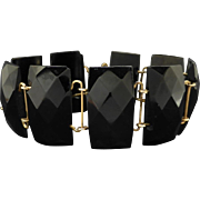 Antique Victorian Faceted Whitby Jet Bracelet, Mourning circa 1880