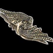 Vintage Art Deco 800 Silver Marcasite Dress/Fur Clips- Brooch, circa 1930