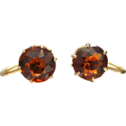 Antique c1910 Madeira Citrine Screw-back Earrings in 9ct Yellow Gold