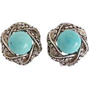 Vintage Sterling Silver, Marcasite and Turquoise Glass Clip-on Earrings - Made in Germany