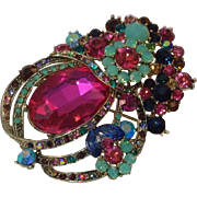 SOLD Stunning Multi-color Rhinestone Brooch/Pendant