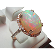 SOLD Fantastic 7ct Opal and Diamond Ring in 14k Rose Gold Size 7