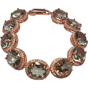SOLD 20 ctw Prasiolite and CZ Bracelet in Sterling Silver with Rose Gold Plating