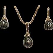 SALE Estate Genuine Galatea Carved Black Tahitian Pearl Necklace and Earrings Set 14k