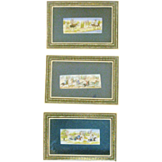Perisian Bone Paintings in Marquetry (Khatam) Frames - Set of Three