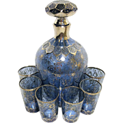 Intricate Blue Cordial Set - Decanter and 6 Glasses - Handpainted Silver Overlay