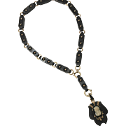 Antique Victorian 14K, Onyx, Seed Pearl and Cameo Necklace Circa Late 19th Century