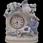 SOLD Porcelain Blue Jay Wind Up Clock