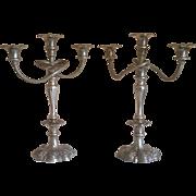 SALE Vintage Pair of Ornate Twisted Stem Silverplate Candelabras
