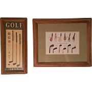 Pair of Framed Prints Vintage Golf Clubs Golf Balls & Tees