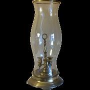 SALE Brass Hurricane Chimney 3 Cup Candelabra