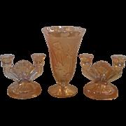 Jeannette Glass Iridescent Marigold Iris and Herring Bone Vase and Candleholders