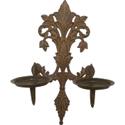 REDUCED Pair of Brass Wall Sconce Candleholders