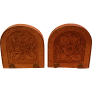 Pair of Tooled Leather Wood Bookends