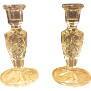 "Pair Cut Crystal 5"" Candleholders"