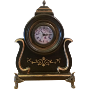 SOLD Quartz Mantle Clock Ornate Footed Gilt Trim
