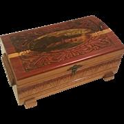 Vintage Footed Carved Wood Trinket Storage Box