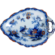 Antique Flow Blue IMARI MANILA Polychrome Pearlware CABINET PLATE Snack OVAL Rust made by by .