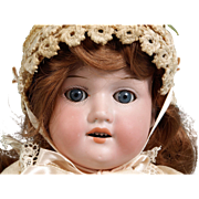 """Armand Marseille 17"""" Bisque head leather body doll Mold 370, made in Germany"""