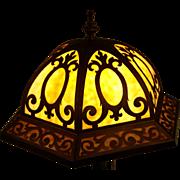 SALE ANTIQUE Leaded Caramel Bent Slag Glass Art Deco Nouveau Decorated Lamp 1920