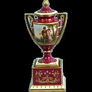 Royal Vienna Artist Signed Vase Urn Hand Painted Raised Gold Gilt Enamel Beehive