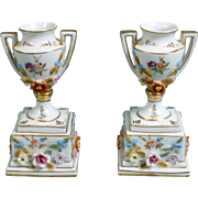 Dresden Nymphenburg or Limbach Hand Painted Vases Urns Raised Gold Germany