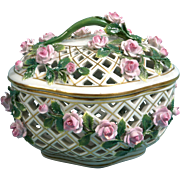 Royal Vienna Hand Painted Basket Lid Reticulated lace Pink Roses UNUSUAL RARE